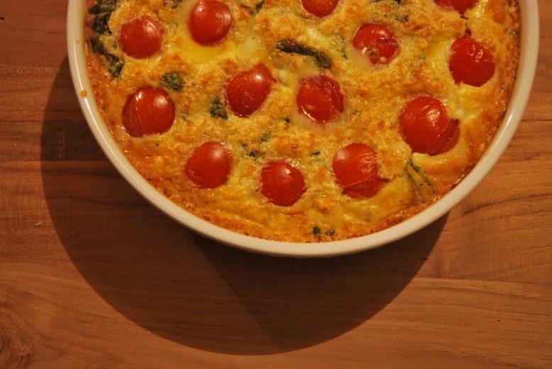 Veggie: Clafoutis met cherry tomaten