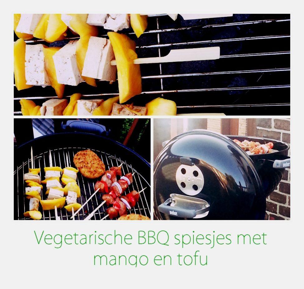 Vegetarische barbecue spiesjes met mango en tofu