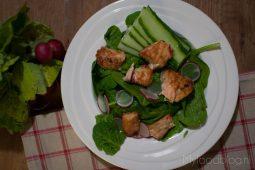 Spinazie salade met teriyaki zalm