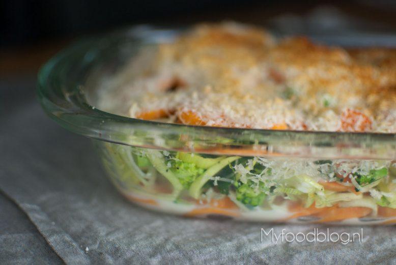 Zoete aardappel gratin met broccoli en prei