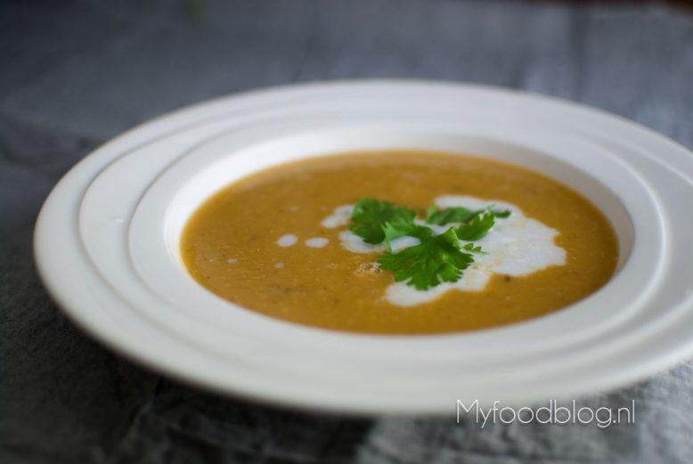 Zoete aardappel & linzen soep