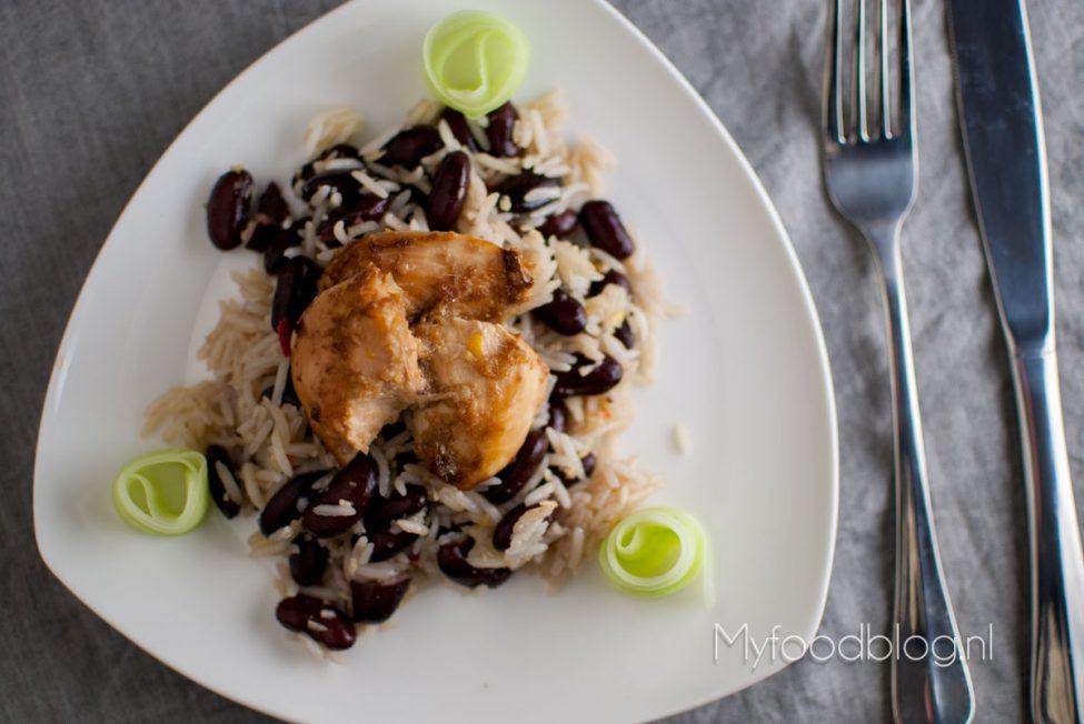 Jerk chicken met 'peas and rice'