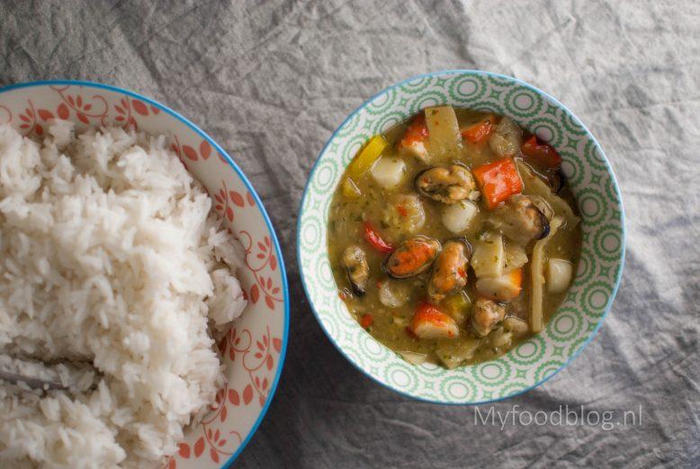 Groene vis curry