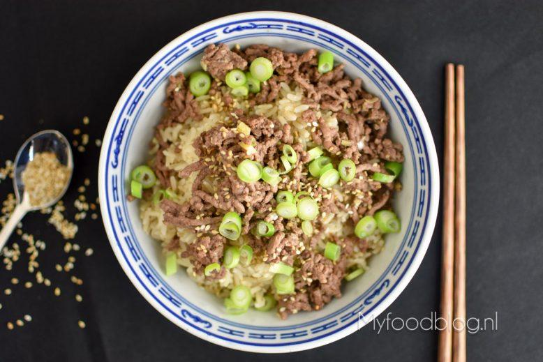 Rice bowl met Koreaans gehakt