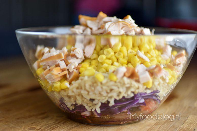 Rijstsalade met kip