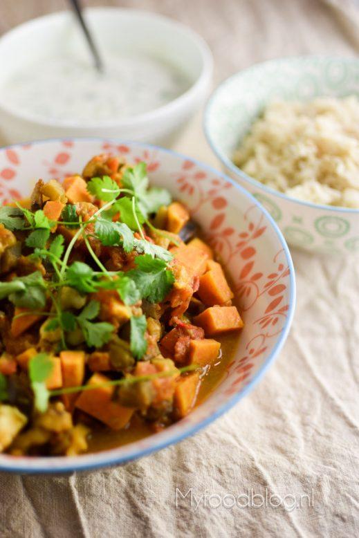 Zoete aardappel curry met witvis en aubergine