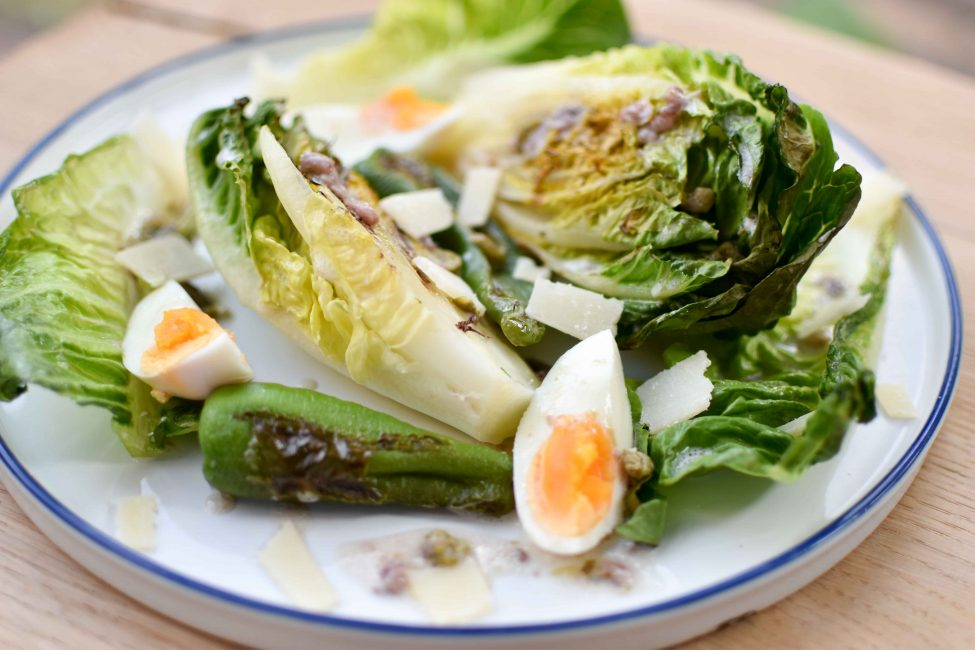 Gegrilde sla (alternatieve Caesar salad)