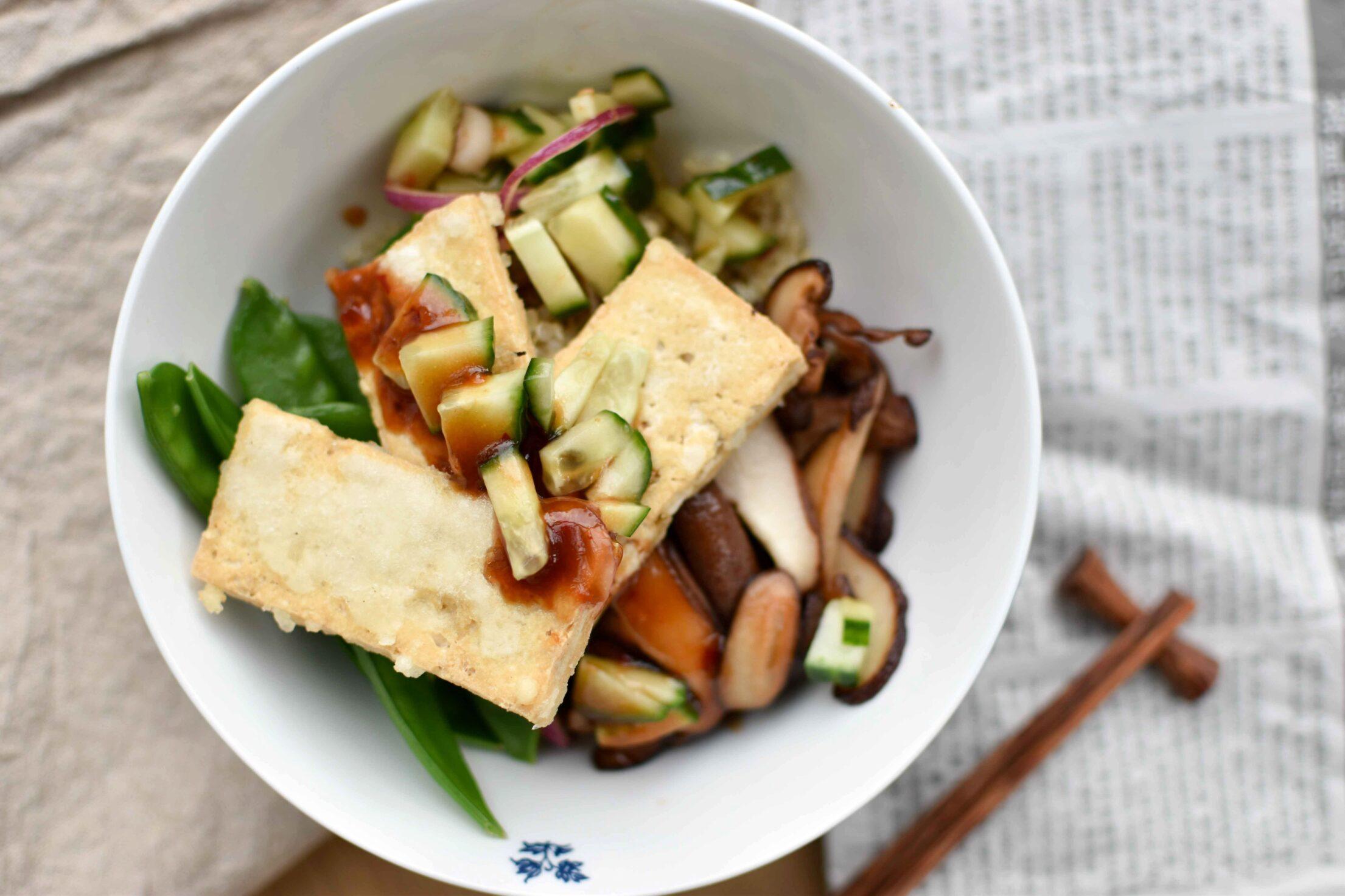 Knapperige tofu bowl