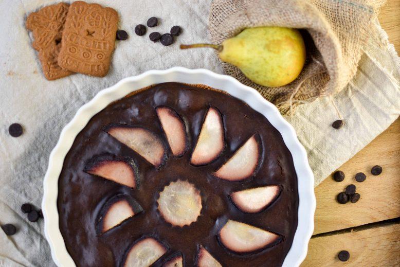 chocoladetaart met stoofpeertjes