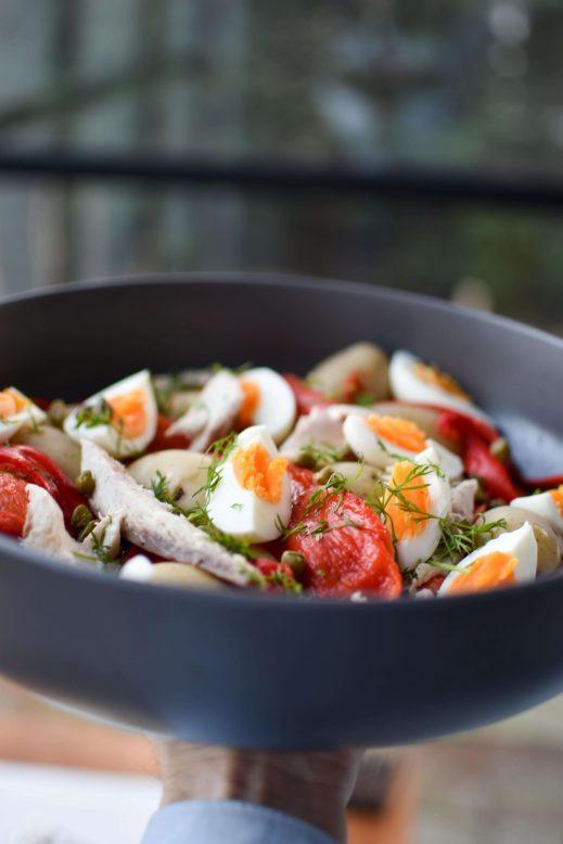makkelijke salade met makreel maken