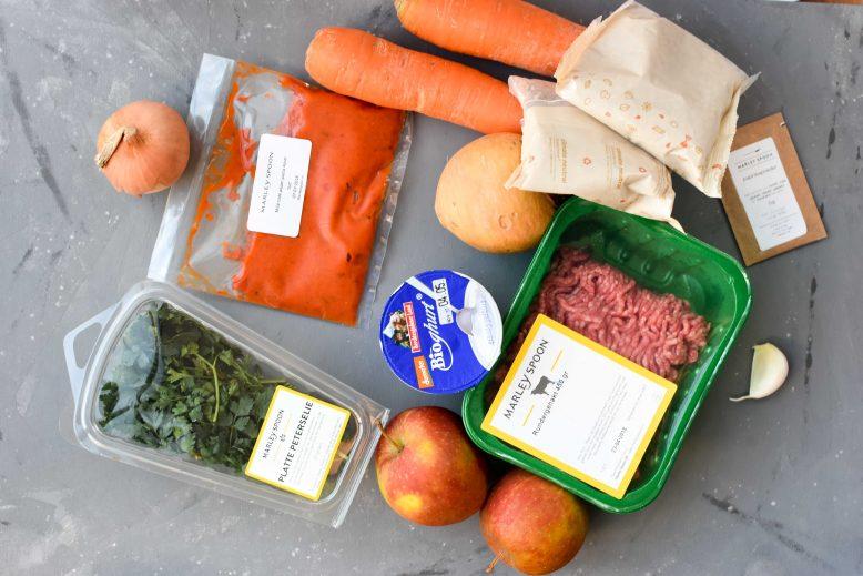 De ingrediënten voor 1 van de 2 gerechten